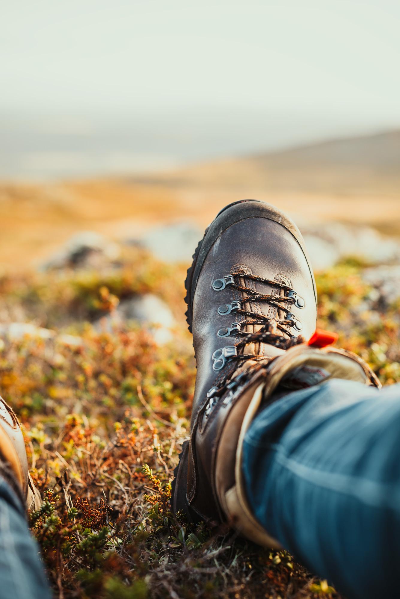 Hiking shoe in the fall