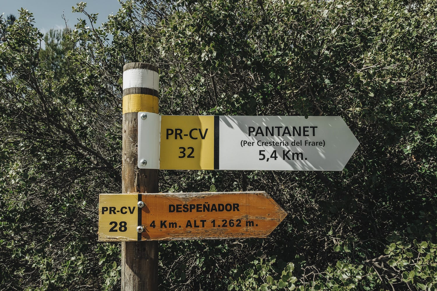 Signs on a hiking trail in Spain