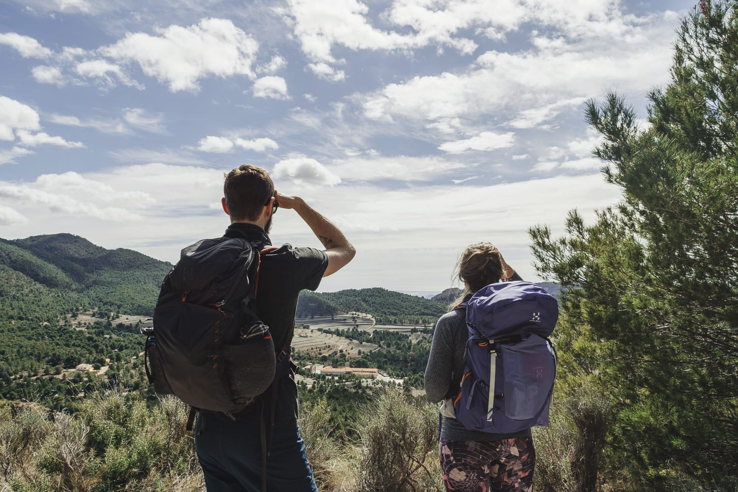Hikers admiring the view in Spain