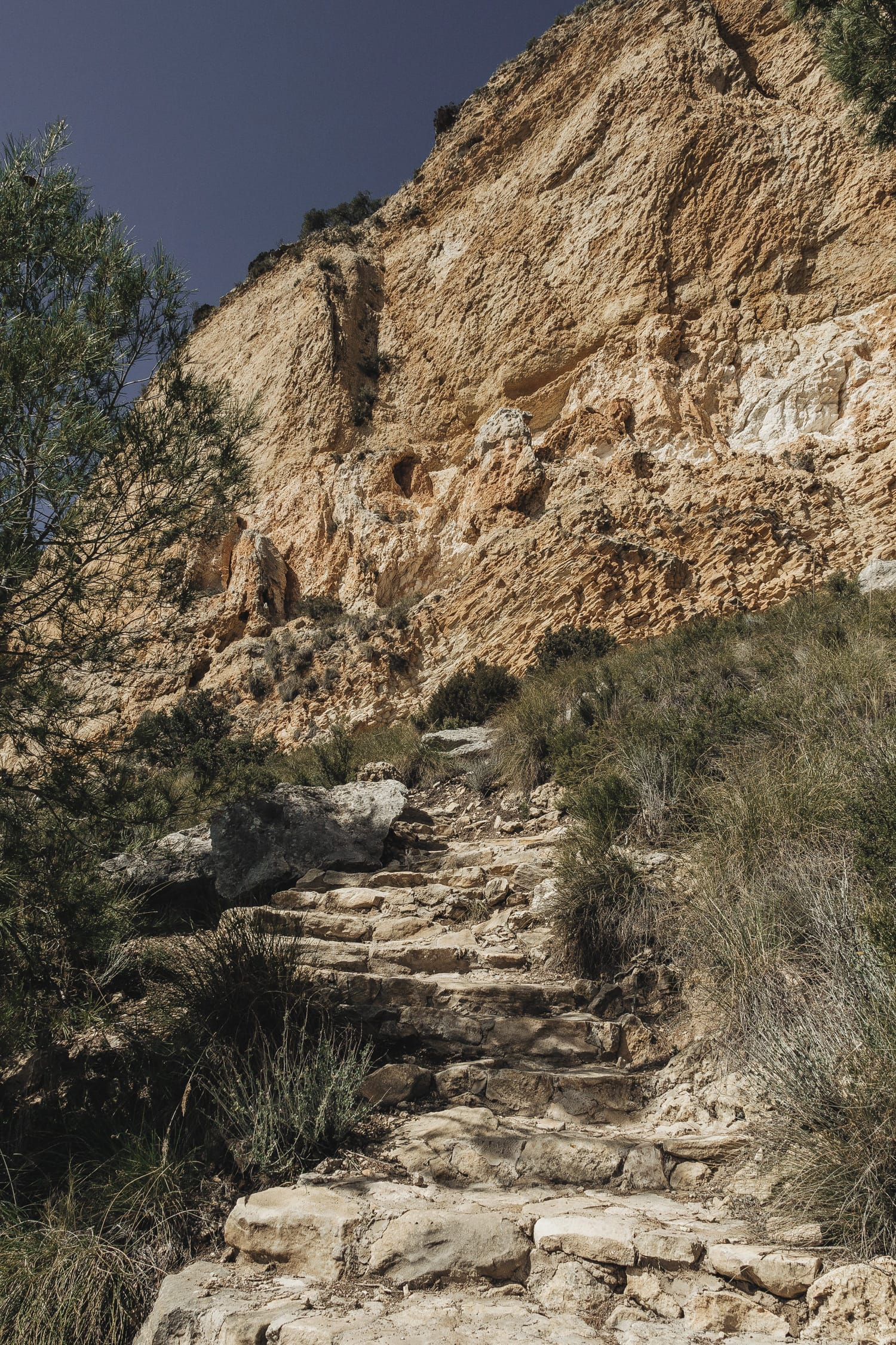 Rocky stairs on a hiking route in Spain