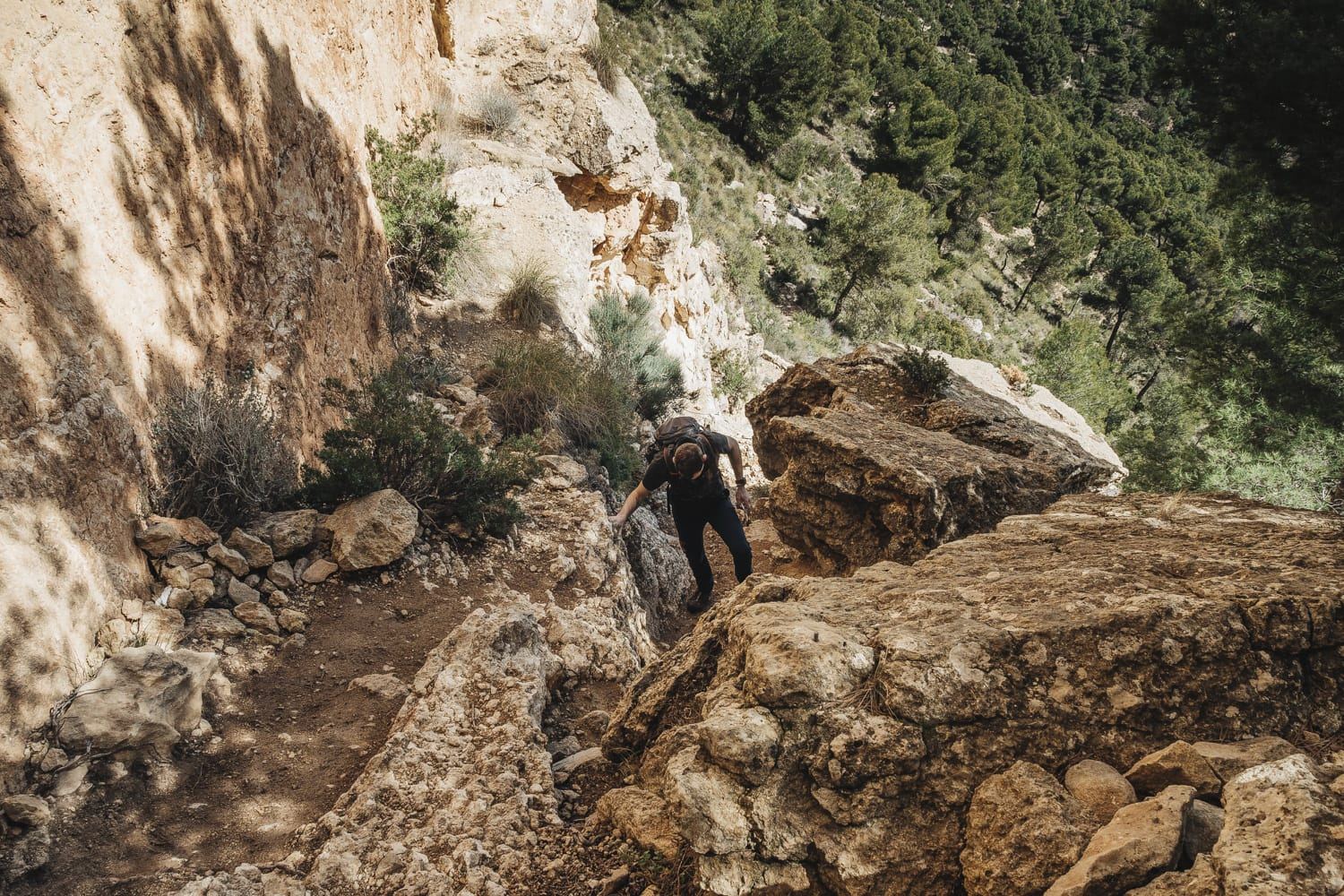 Scrambling on a hiking route in Spain