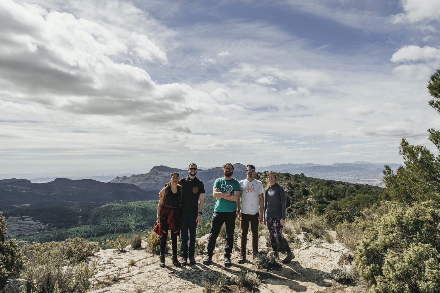 group photo of hikers in Spain