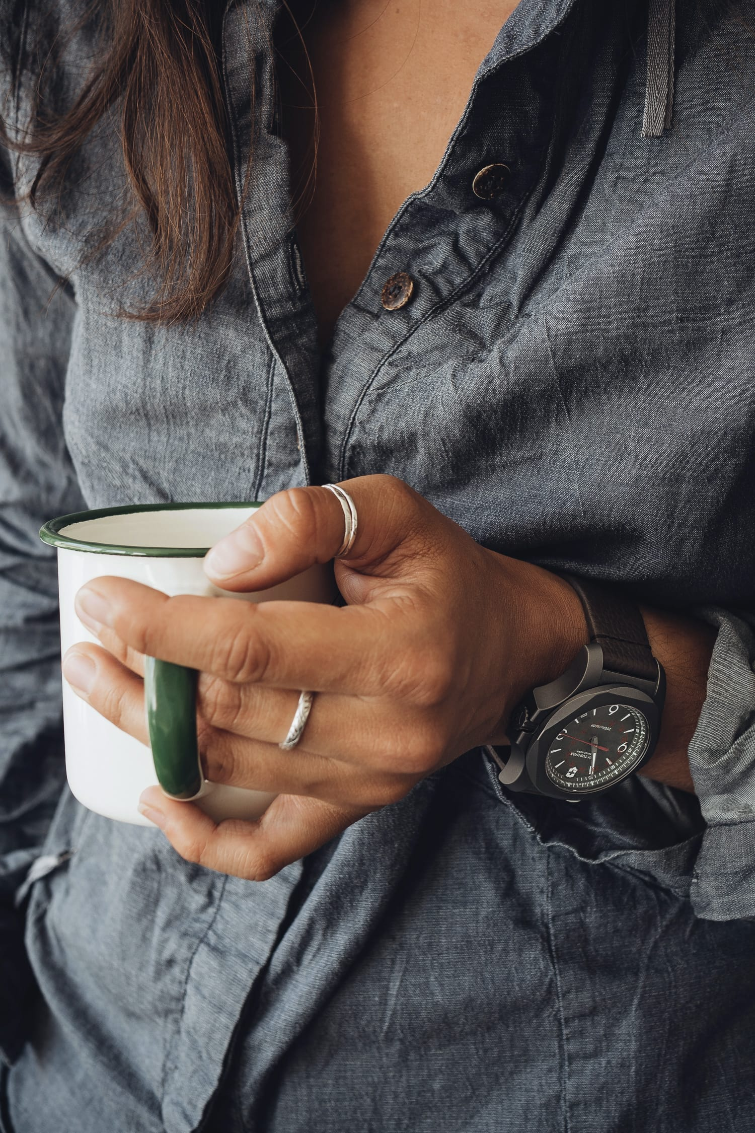 hand holding a coffee cup, Victorinox watch