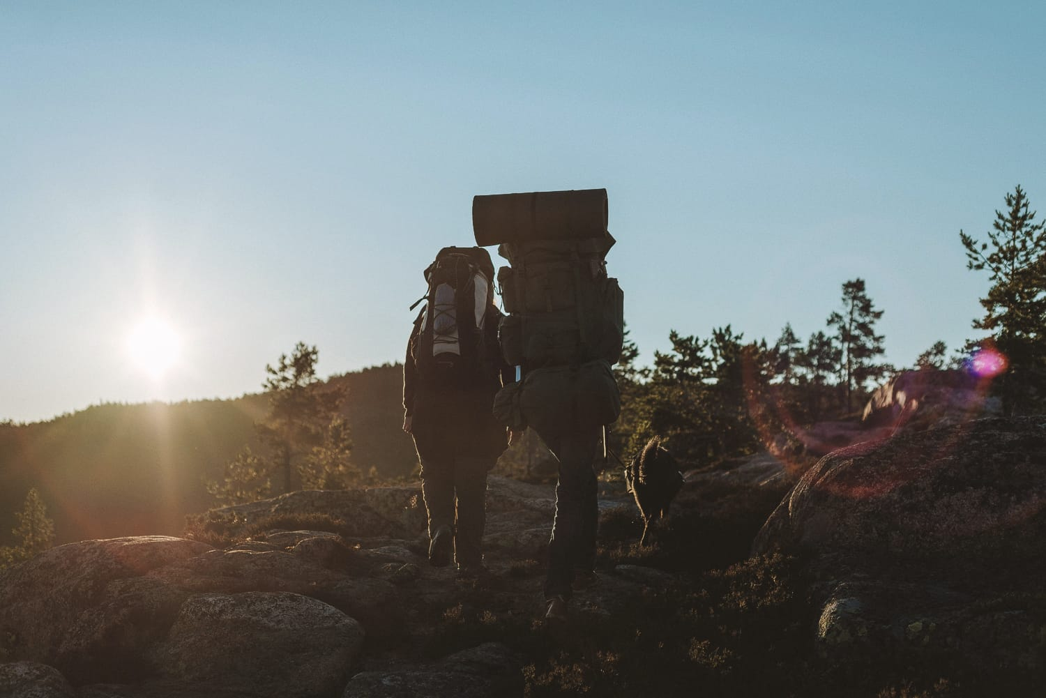 couple hiking in the High Coast of Sweden
