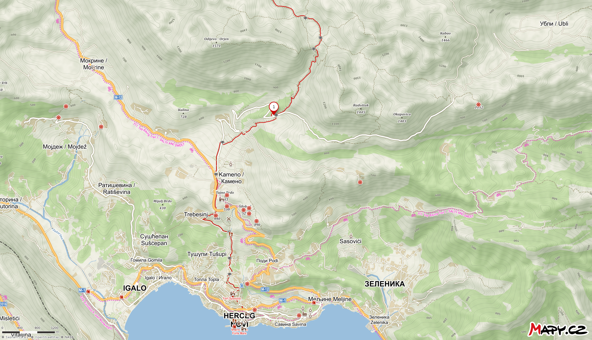 map for hiking the orjen massif