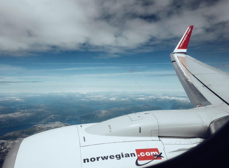 Flying in over Bergen, Norway with Norwegian
