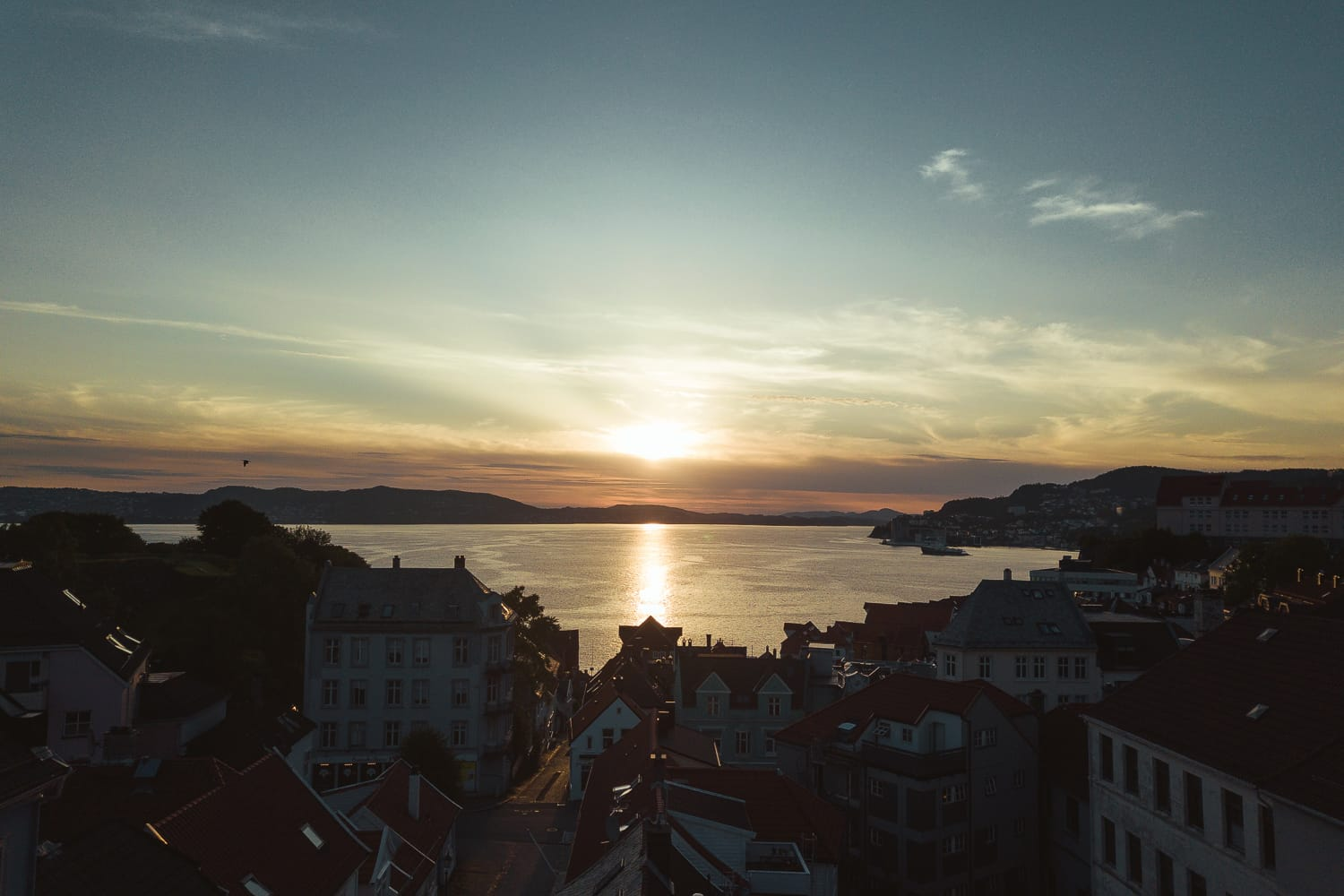 City of Bergen during sunset