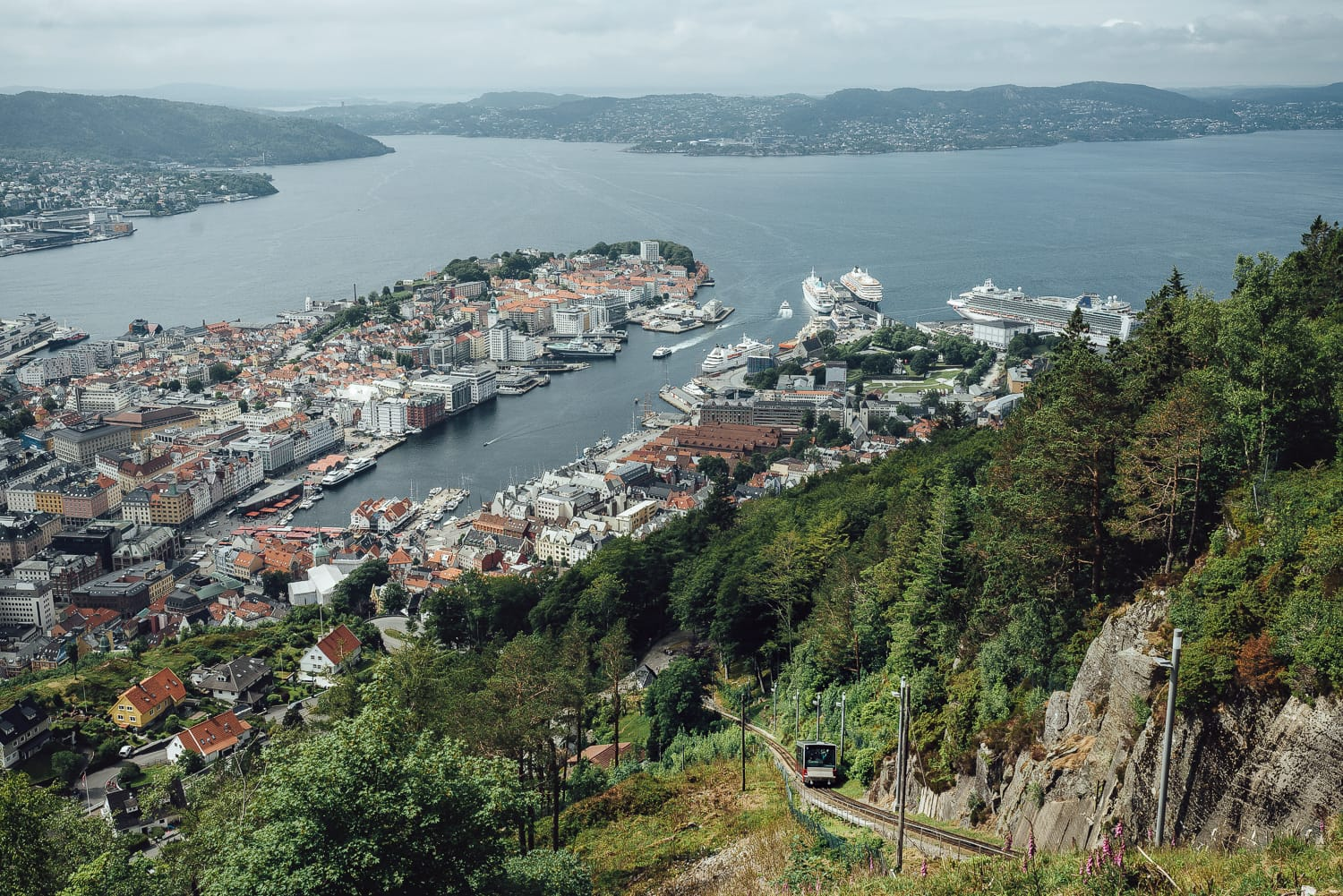 Funicular up on Mount Fløyen