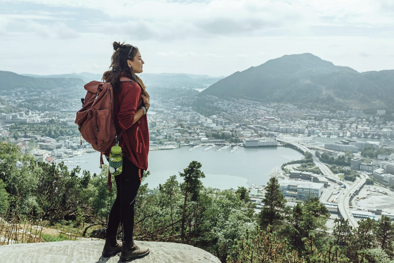 Woman looking out over Bergen from Mount Fløyen