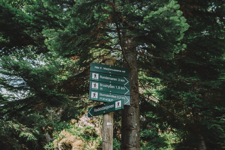trail signs on Mount Fløyen