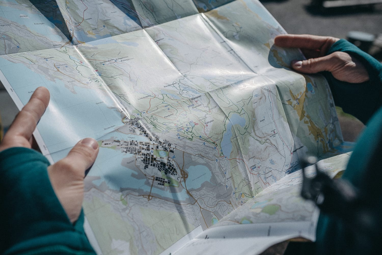 Map over Fløyen mountain