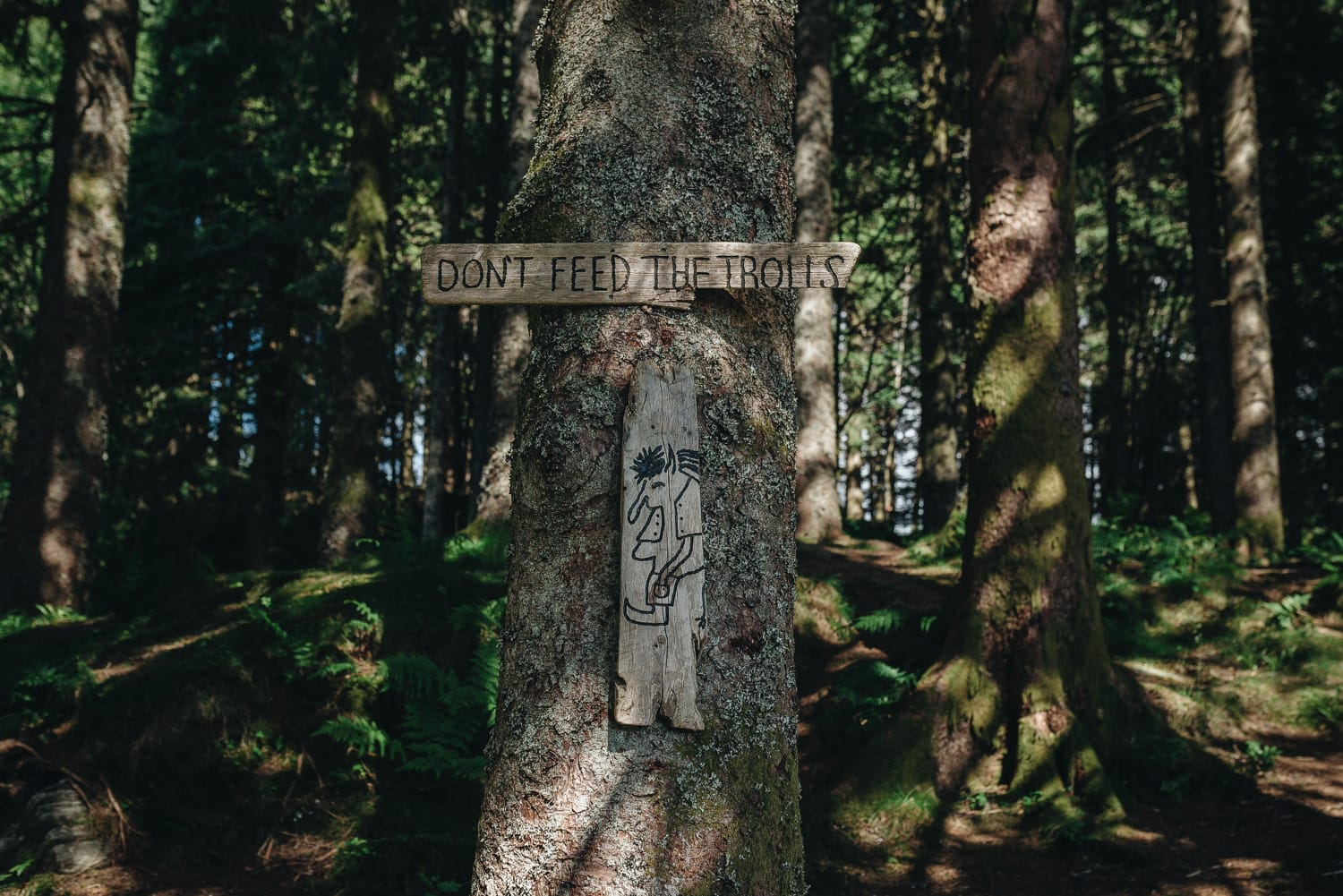 """Sign that says """"don't feed the trolls"""" on Wooden playground up on Mount Fløyen, Bergen"""
