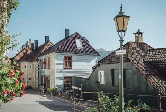 Cute street in Bergen, Norway