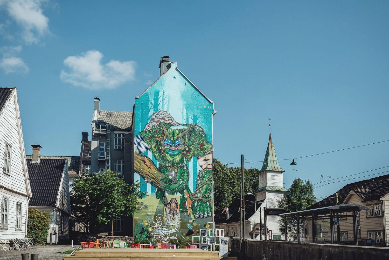 Giant troll street art in Bergen, Norway