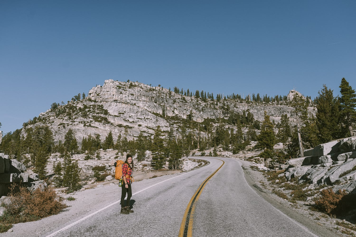 hiker on Tioga Road