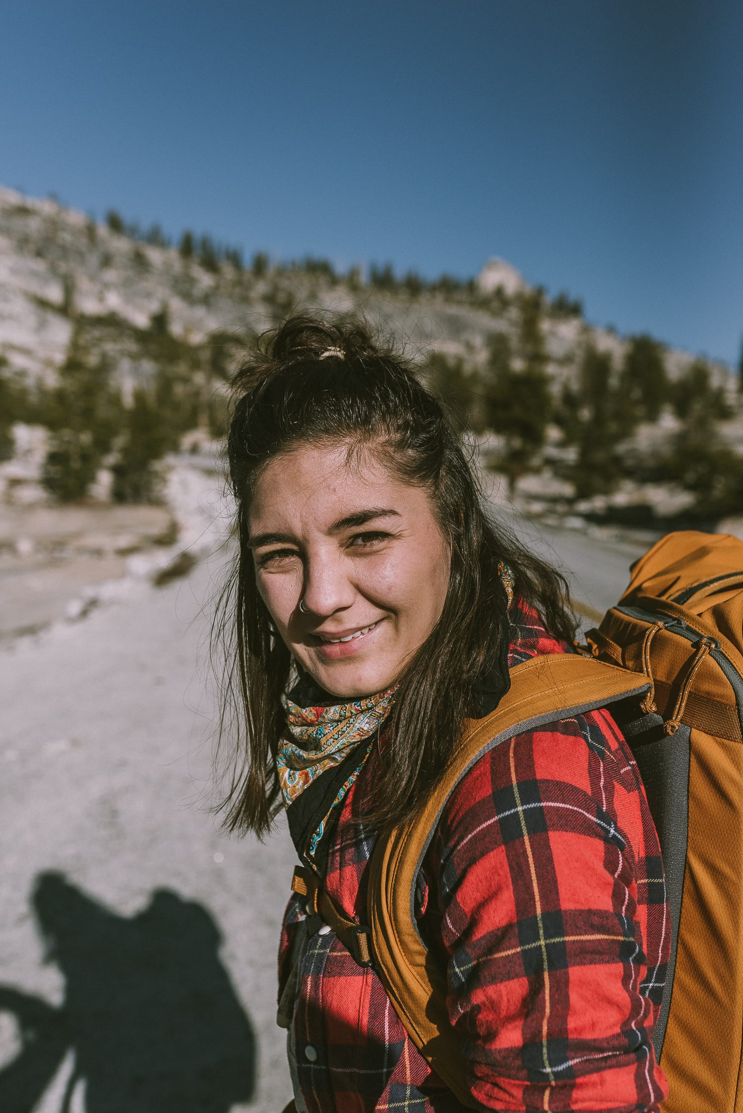 portrait of a hiker on Tioga Road