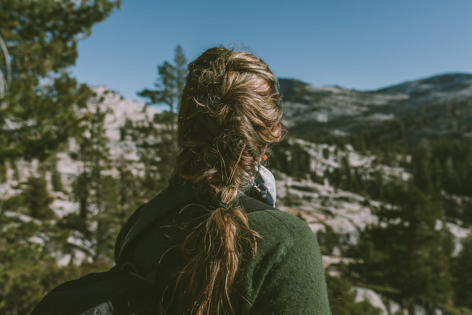 Braided female hiker