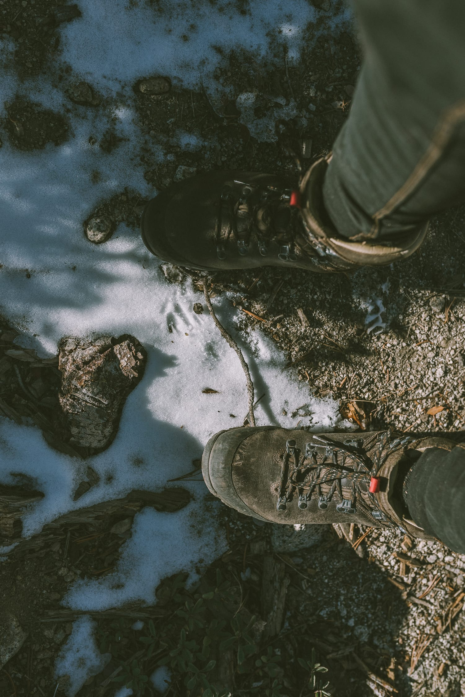 Hiking boots and snow