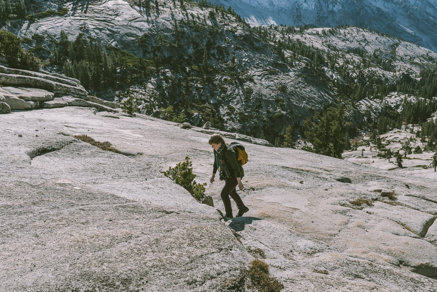 hiker at Olmsted Point