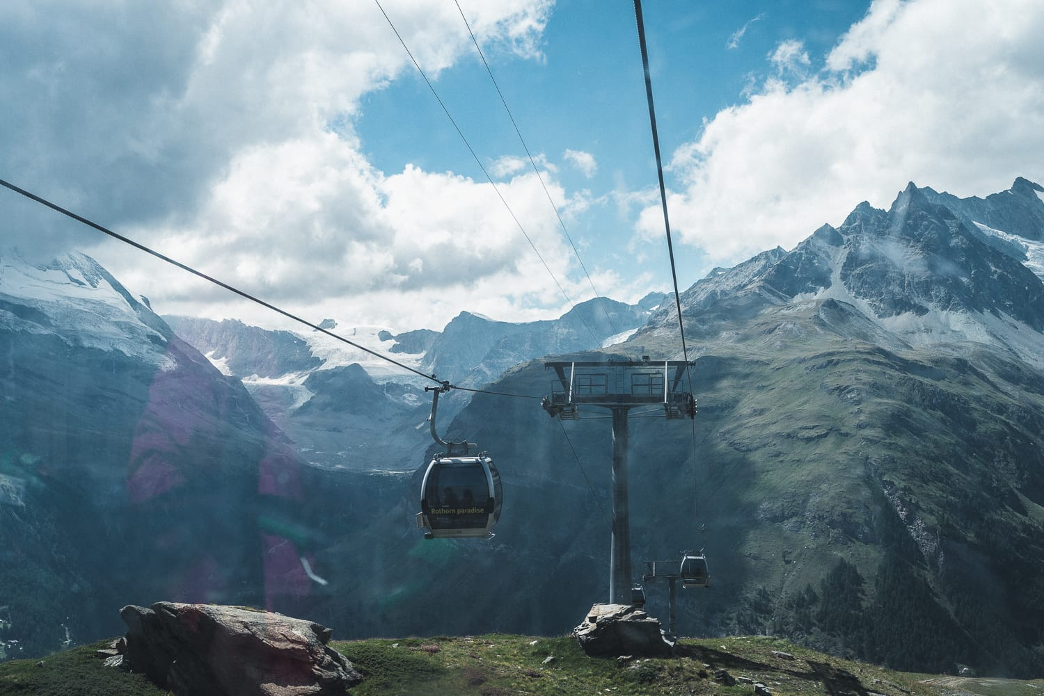 taking the lift up in the Swiss alps