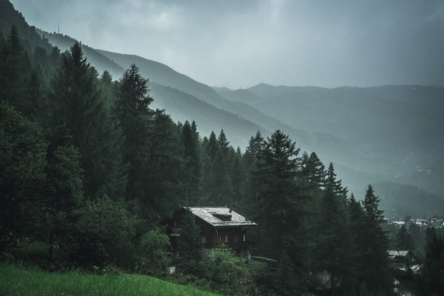 A lonesome chalet in the rain