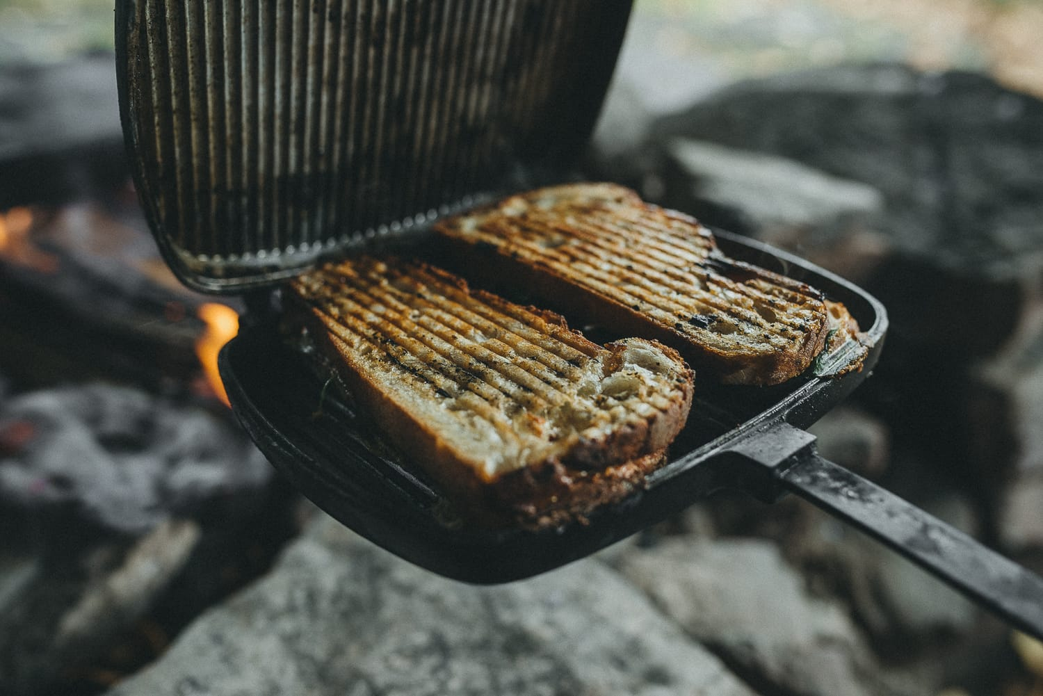 grilled sandwiches cooked over fire