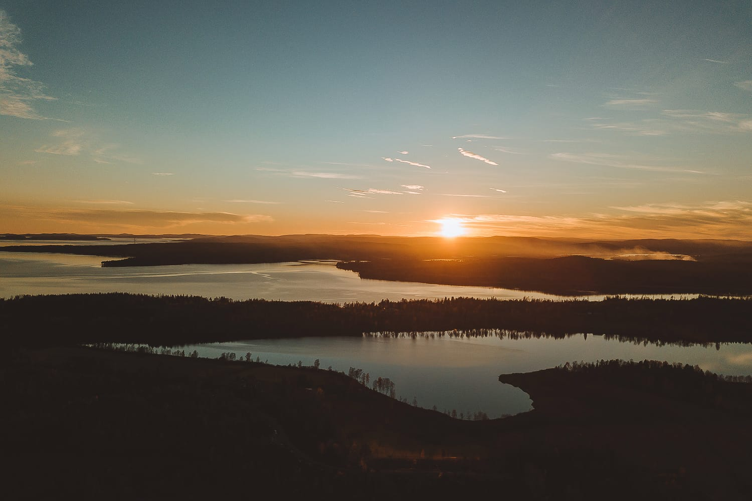 Drone shot over a sunset