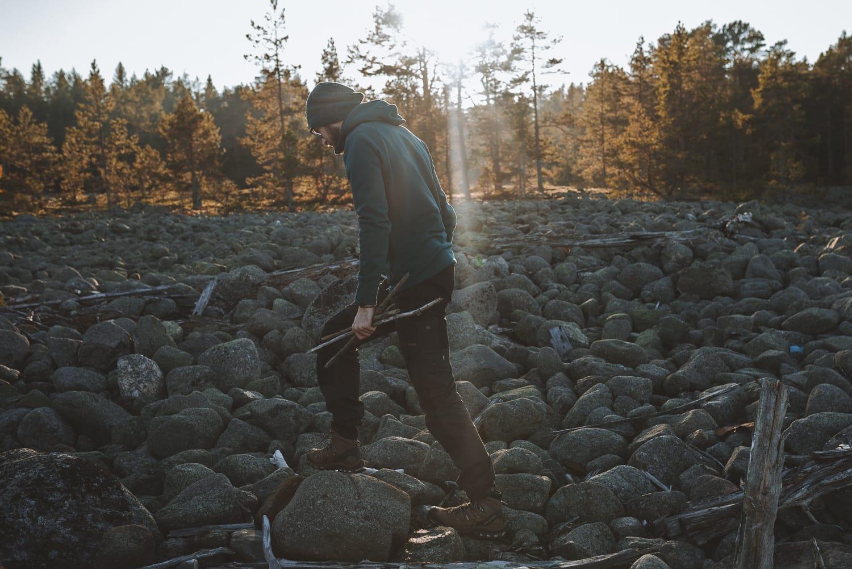 gathering driftwood