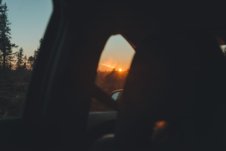 sunset through a car window