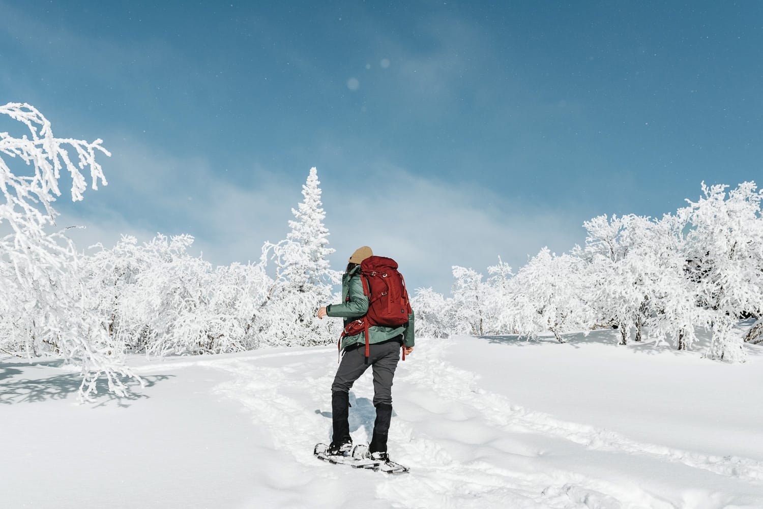 Woman hiking with snowshoes