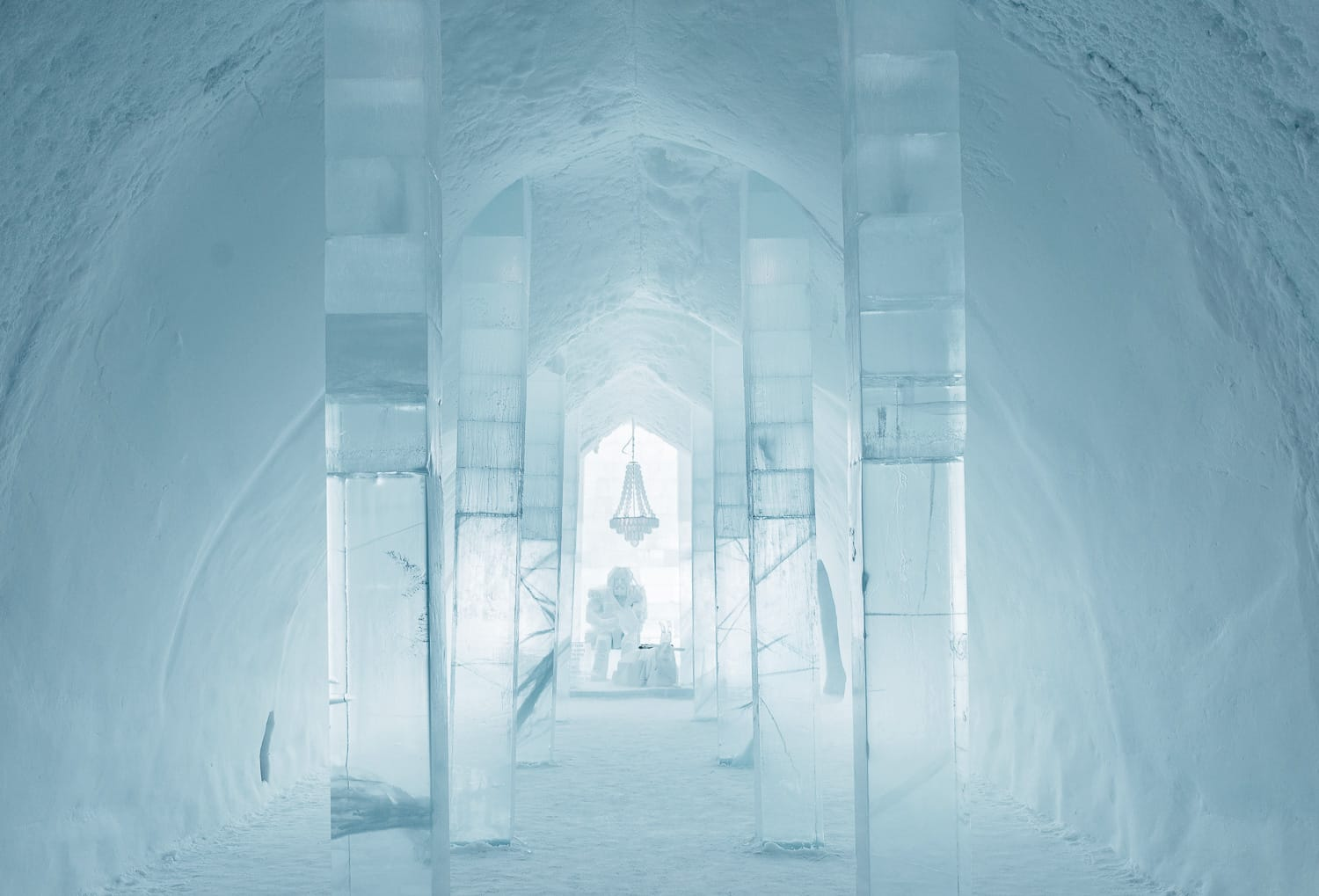 Thor sitting in his hall at the Ice Hotel in Jukkasjärvi