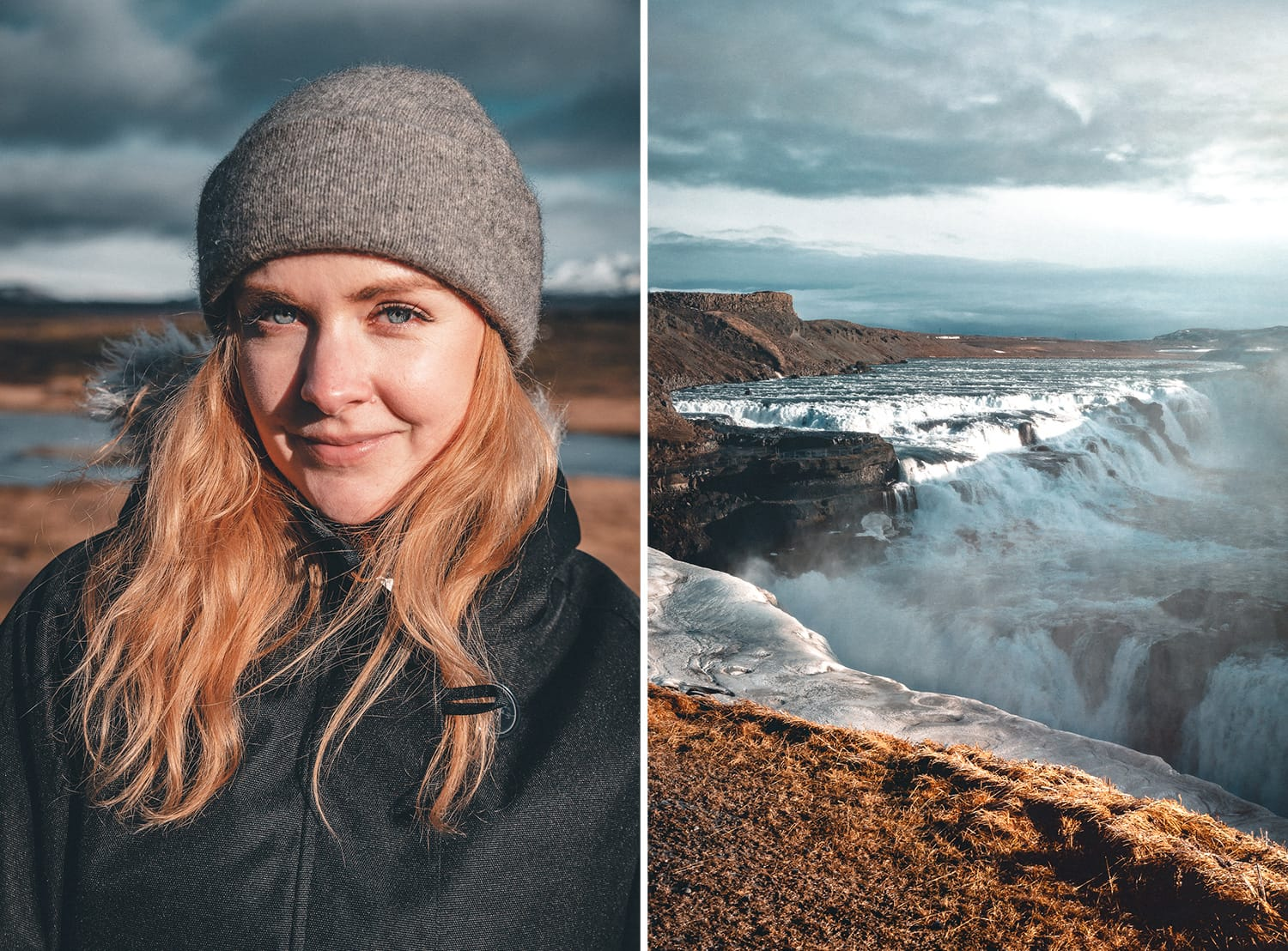Portrait by Gullfoss waterfall, Iceland