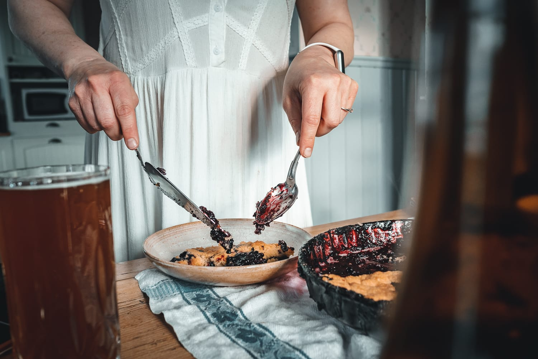Plating blueberry pie