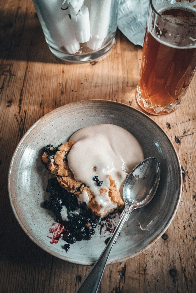 Blueberry pie and beer