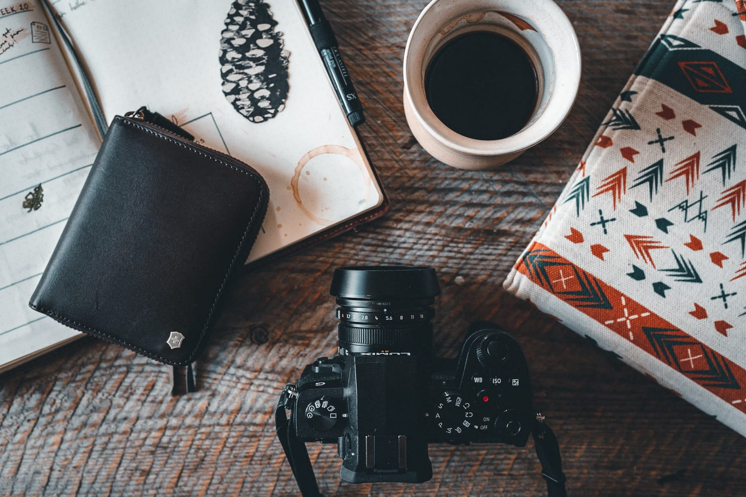calendar, wallet, camera and coffee on a desk