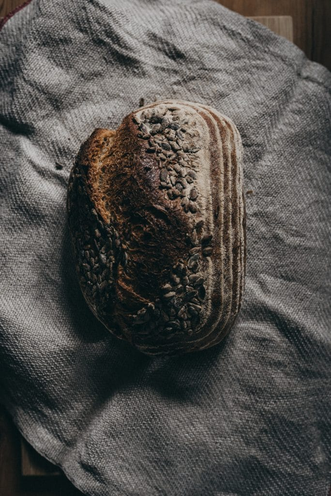 Rustic bread on a towel