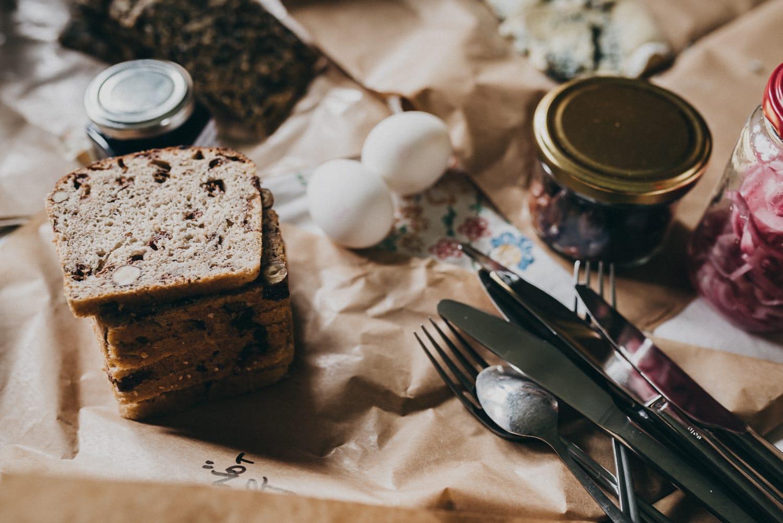 bread, eggs and marmalade