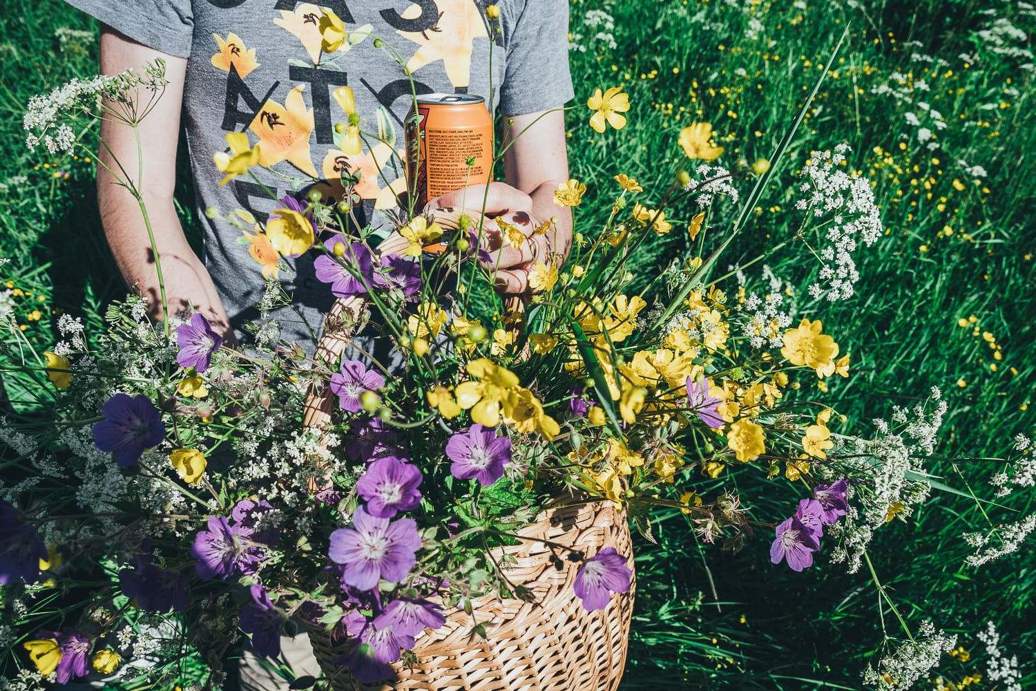 picking flowers and drinking beer