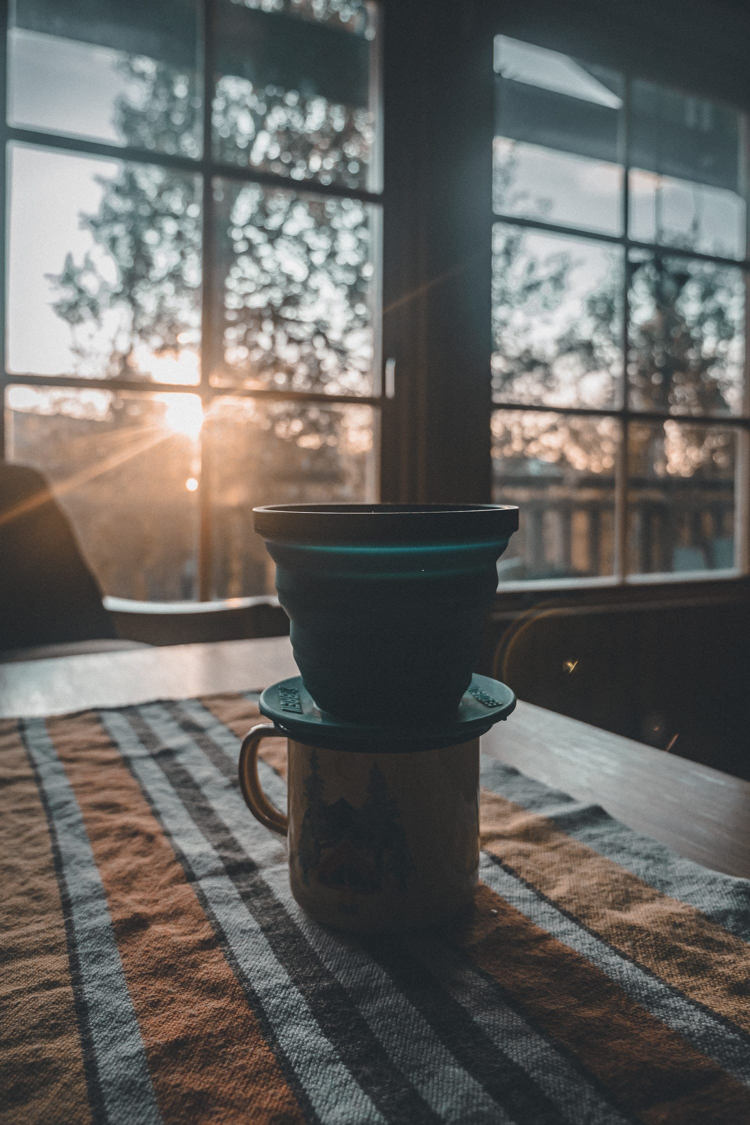 morning coffee in a cabin