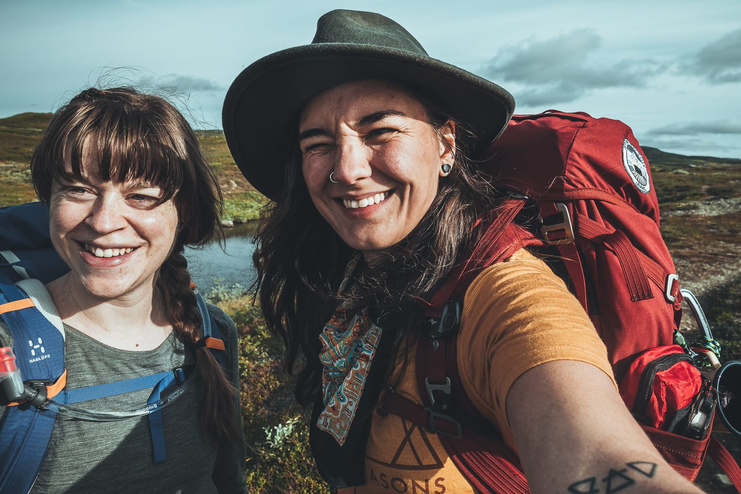 female hikers on their way to Helags