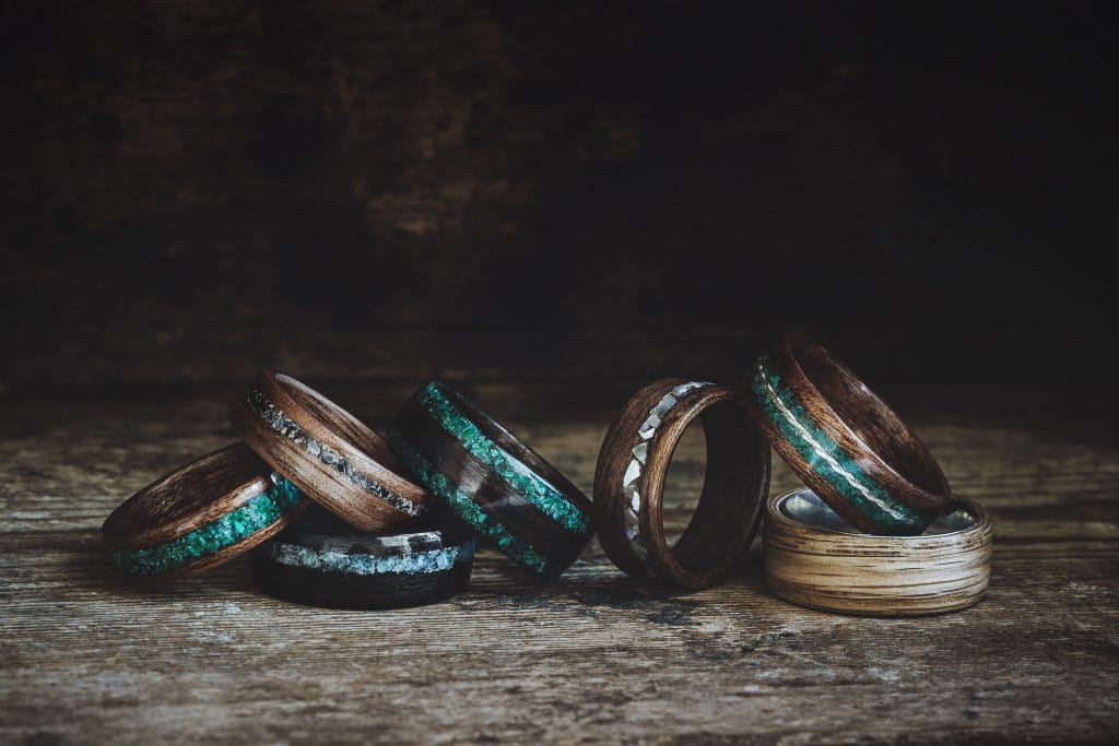 Exotic wooden rings made by Woodbound Designs, photo © Rania Rönntoft, www.northboundjourneys.com