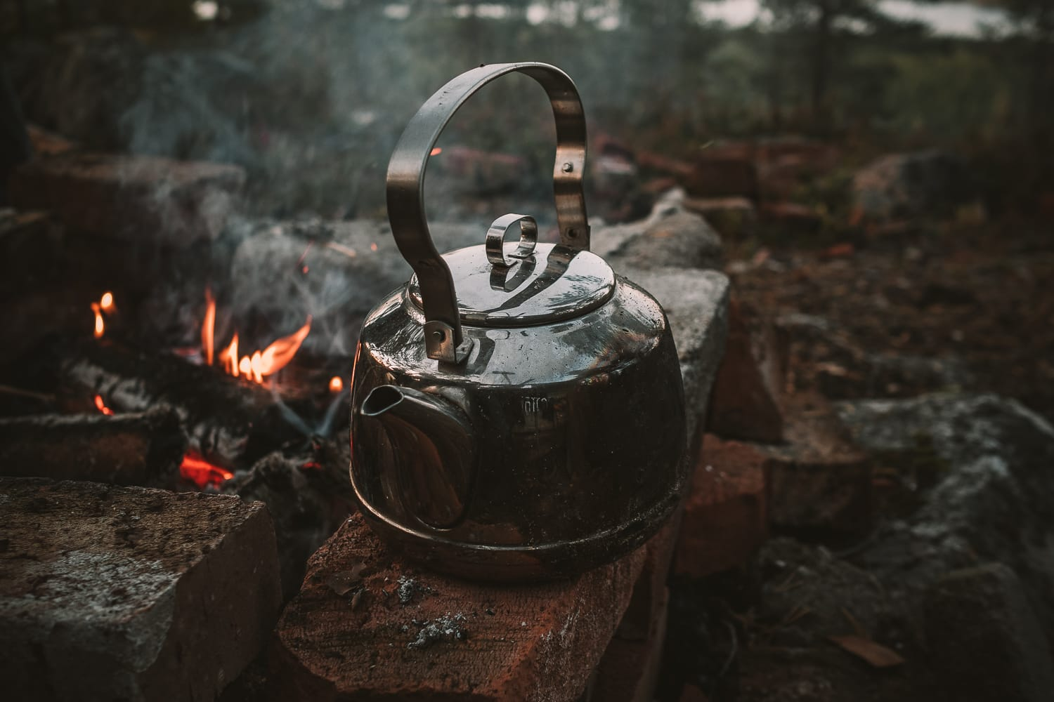 coffee pot by the fire