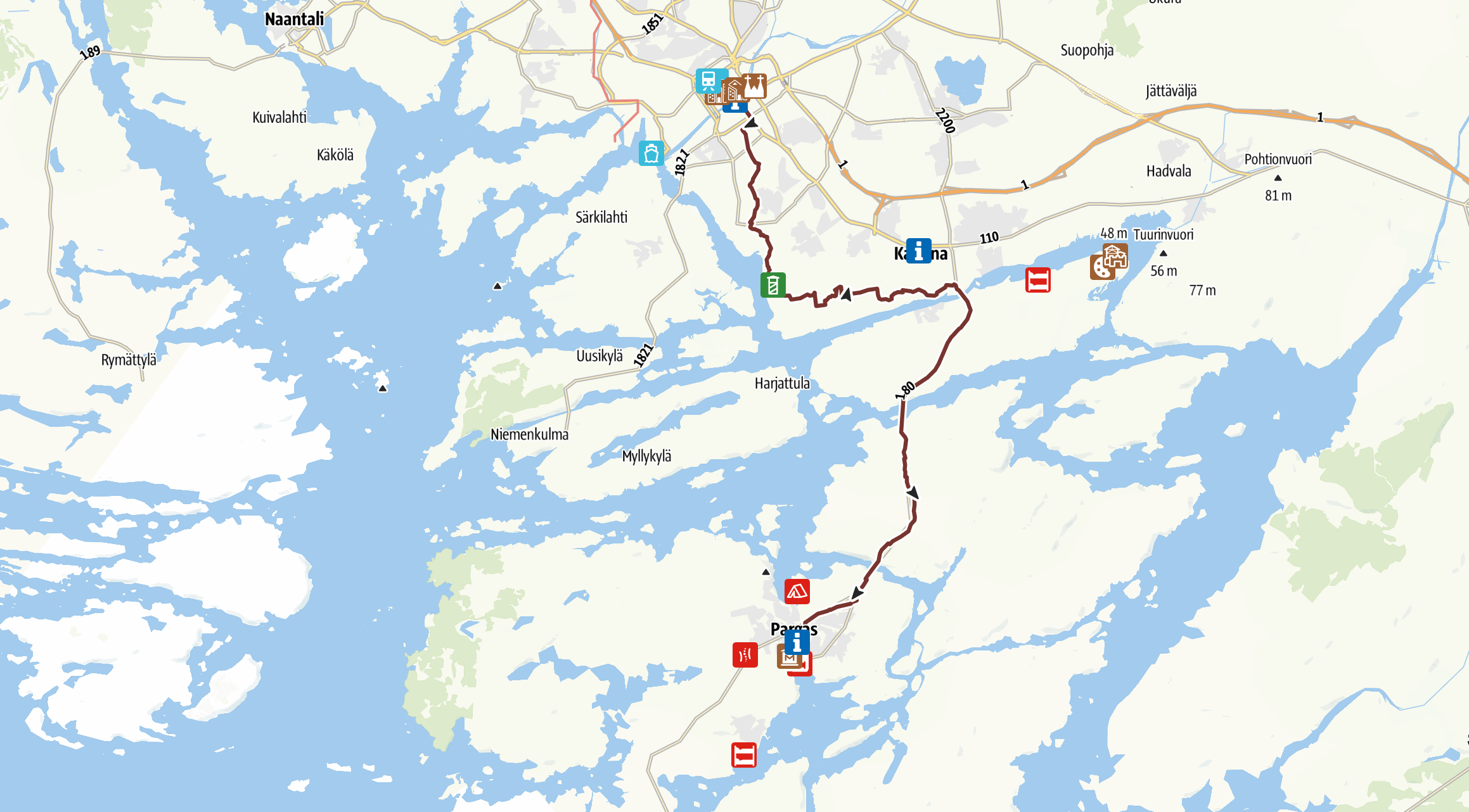St. Olav Waterways map, Turku to Pargas