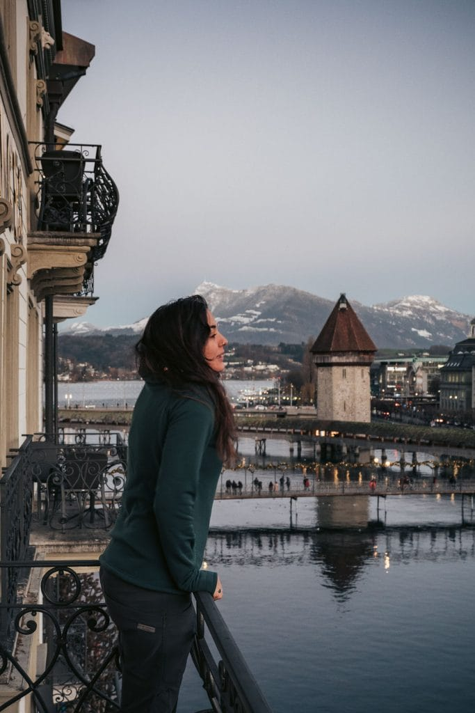woman on a balcony in Lucerne