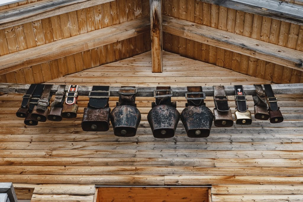 cowbells on a chalet in Switzerland