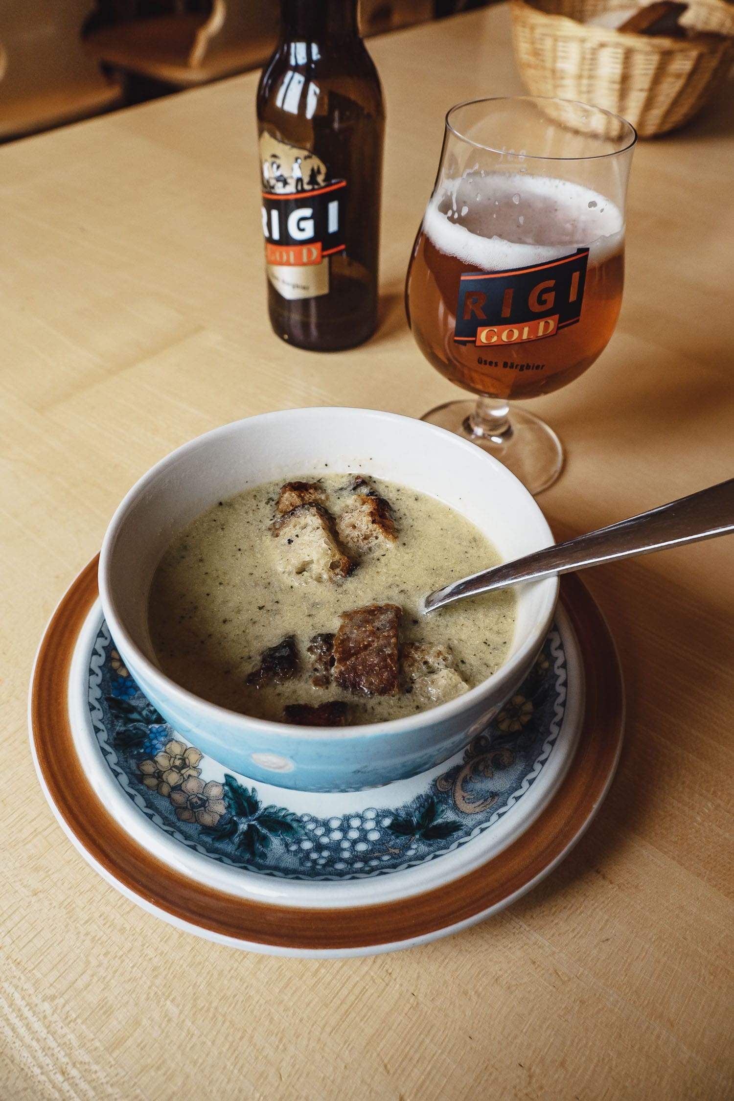 Soup and local Rigi Beer