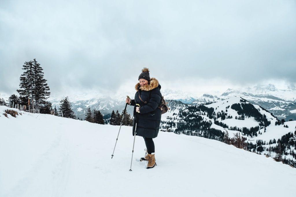 woman snow hiking on Mount Rigi