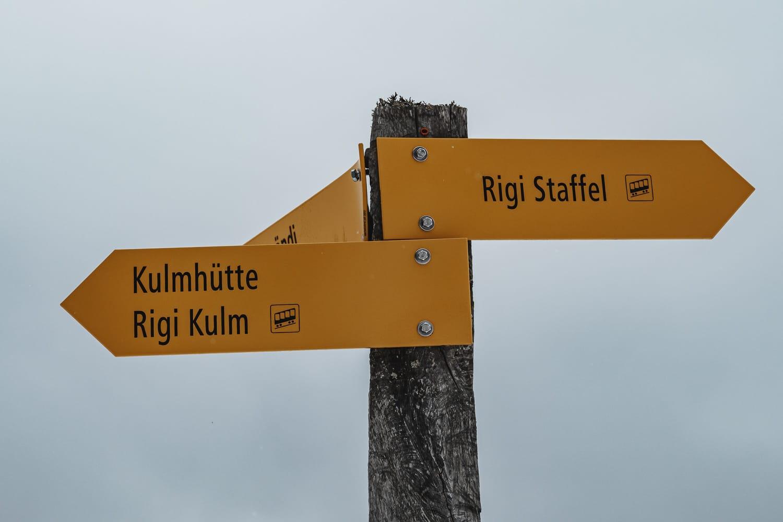 hiking signs on Mount Rigi