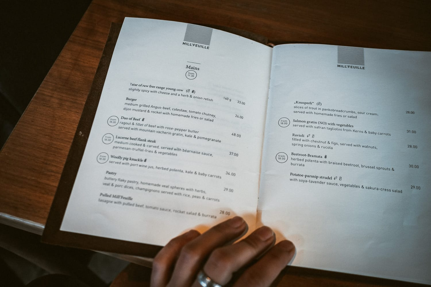 checking the menu at a Mill'Feuille