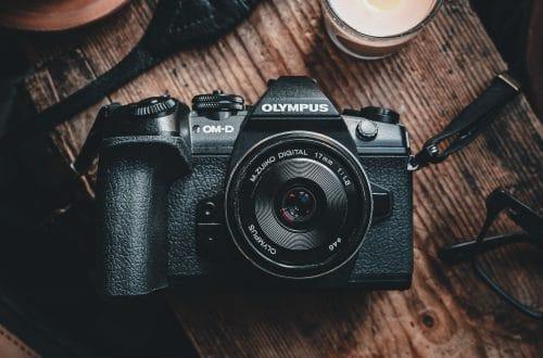 still life of Olympus camera